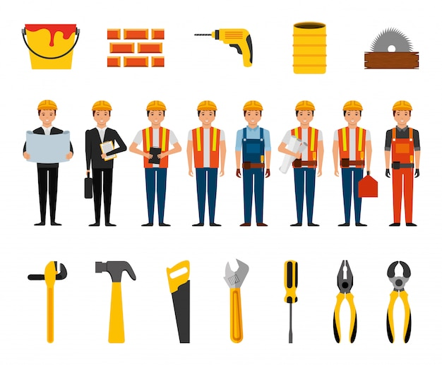 Bundle of construction workers and tools