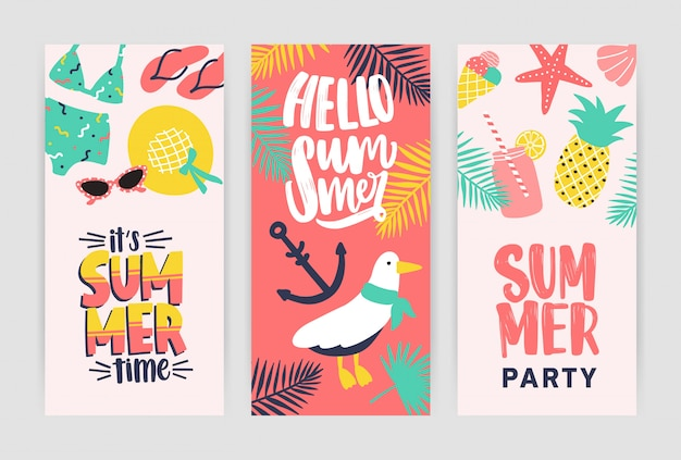 Bundle of creative flyer templates for summer party announcement. colored illustration in flat cartoon style for seasonal dance event or summertime open air festival advertisement or promotion