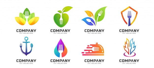 Bundle creative fork spoon restaurant logo collection