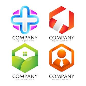 Набор креативных логотипов в форме шестиугольника