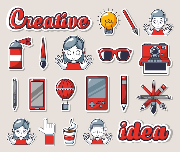 Bundle of creative photographic ideas set icons