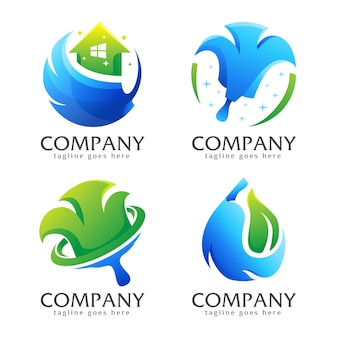 Bundle creative sanitary broom logo collection