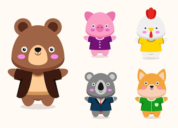 Bundle of cute animal cartoon characters mascot collection,  flat colorful   illustration