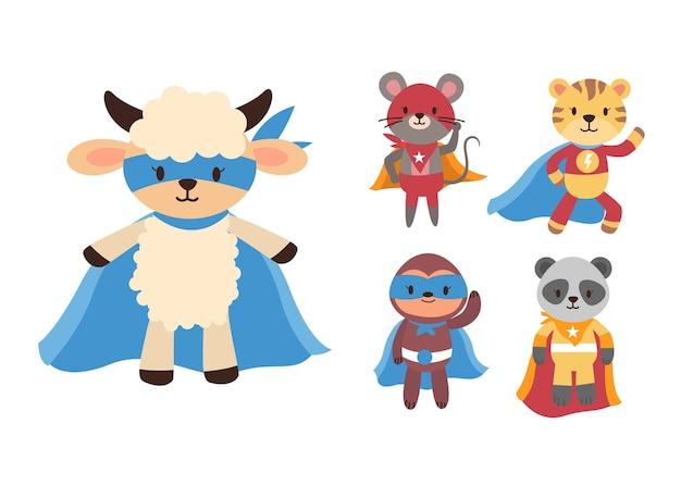 Pacchetto di simpatici cartoni animati con collezione di personaggi mascotte super eroe
