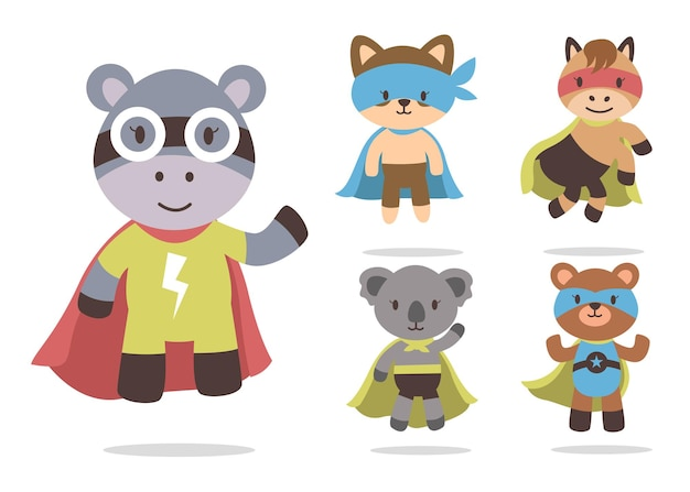 Bundle of cute animal cartoon with super hero mascot characters collection