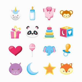 Bundle of cute animals and baby toys illustration design