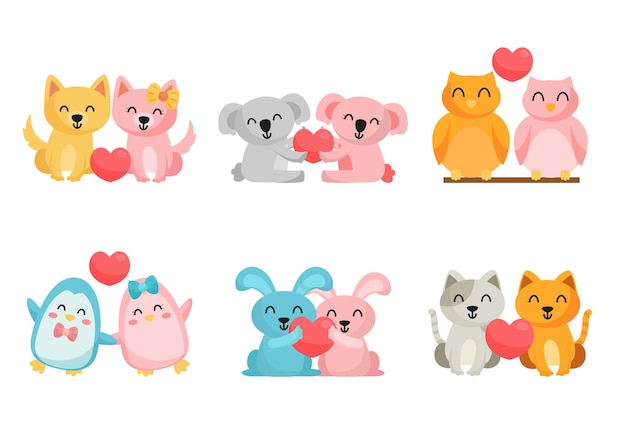 Bundle of cute cartoon animal in love background,  isolated characters flat lovely cartoon animal   illustration concept