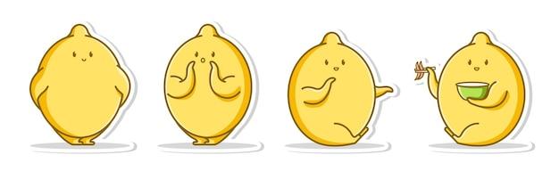 Пучок милые эмоции поза лимона