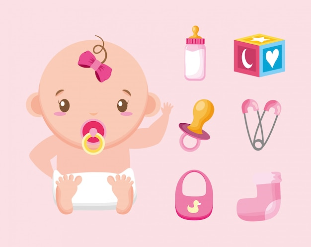 Bundle of cute girl and baby accessories illustration design