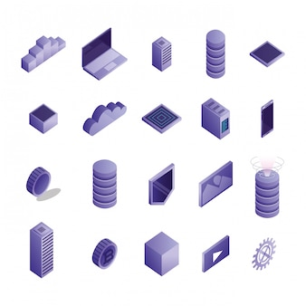 Bundle of data center icons