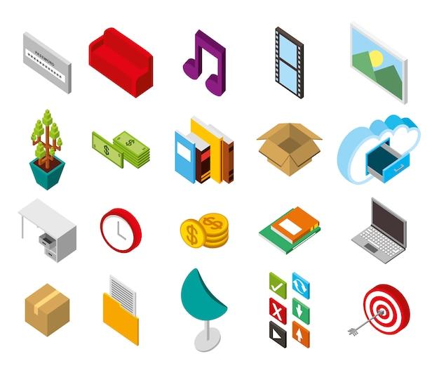 Bundle di set di icone isometriche di archiviazione del data center Vettore gratuito