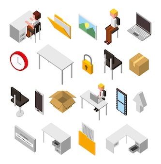 Bundle of data center storage isometric set icons