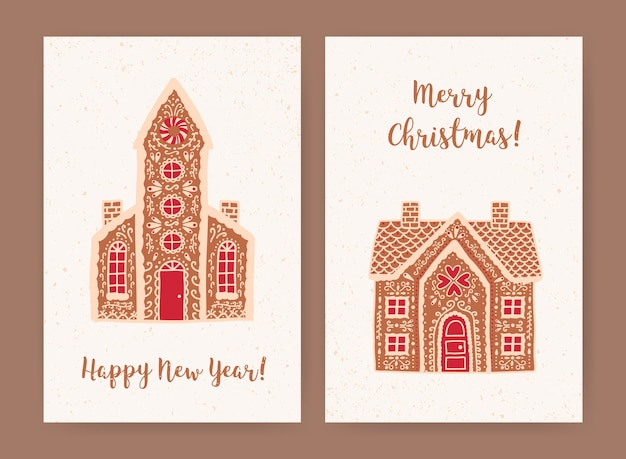 Bundle of decorative christmas and new year greeting card or postcard templates with sweet tasty gingerbread houses and holiday wishes
