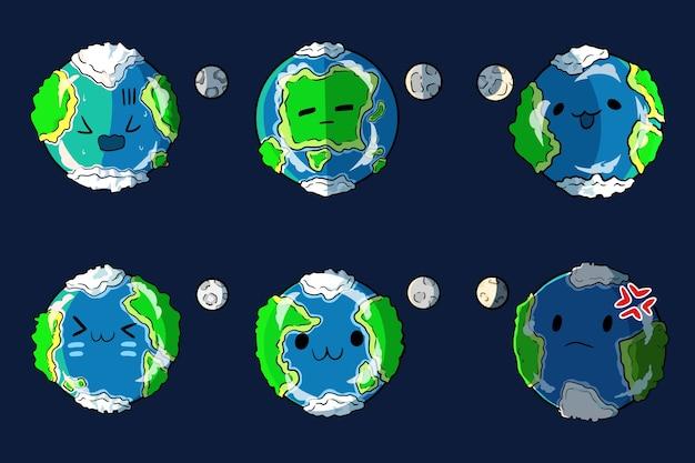 地球のかわいい絵文字をバンドル