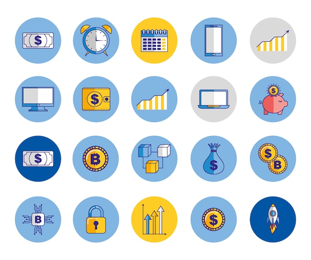Bundle of economy and finances icons