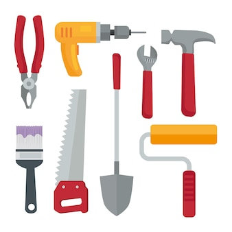 Bundle of eight construction tools set icons
