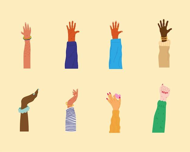 Bundle of eight diversity hands humans up  illustration