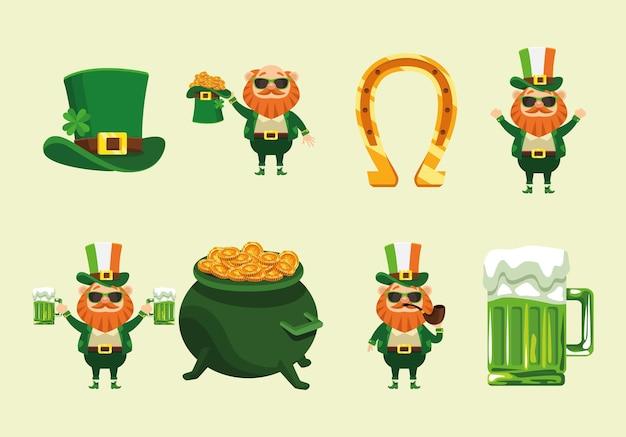 Bundle of eight happy saint patricks day icons  illustration