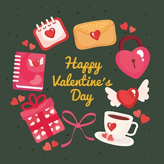 Bundle of eight happy valentines day set icons