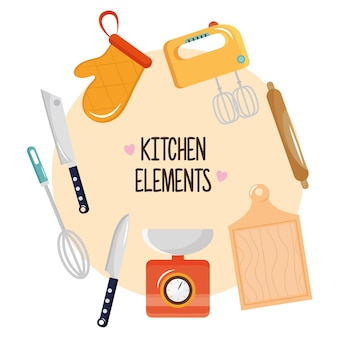 Bundle of eight kitchen utensils set icons and lettering illustration design