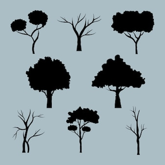 Bundle of eight trees forest silhouette style icons.