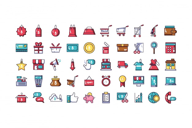 Bundle of electronic commerce with icons set