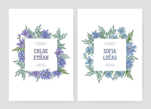 Bundle of elegant floral wedding invitations with beautiful blooming nigella and clematis flowers and place for text
