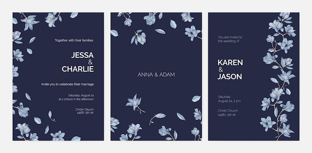 Bundle of elegant templates for save the date card or wedding invitation with beautiful magnolia tree branches and flowers hand drawn with contours on dark background. realistic illustration.