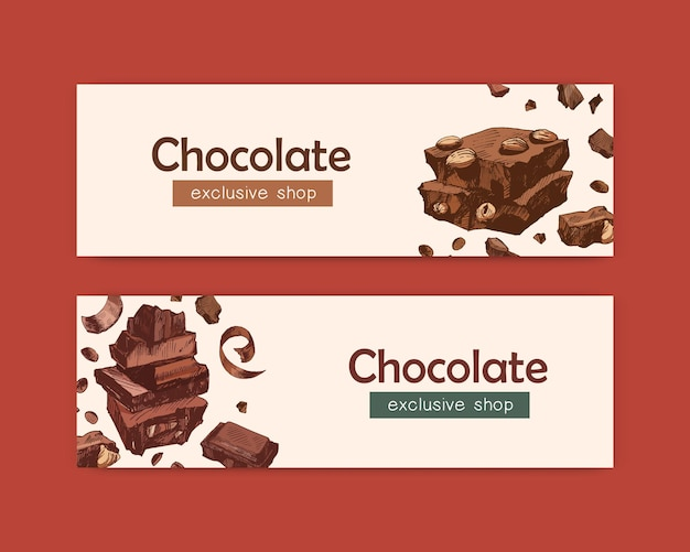 Bundle of elegant web banner templates with chocolate bars, sweet tasty organic desserts, natural delicious confections. decorative vector illustration for shop, store or confectionery advertisement.