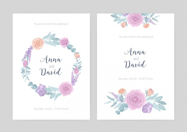 Bundle of elegant wedding invitation templates decorated with wreath and bouquets made of blooming flowers.