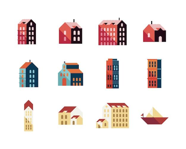 Bundle of eleven buildings and sailboat minimal city set icons illustration design