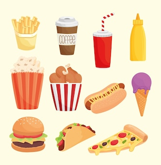 Bundle of eleven fast food products icons  illustration design