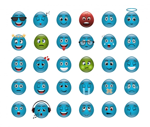Bundle of emoticons with expressions