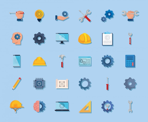 Bundle of engineering set icons