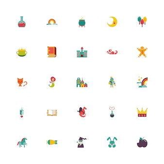 Bundle of fairytales set icons