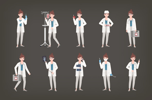 Bundle of female doctor, physician or surgeon standing in different postures. set of woman in white coat holding medical equipment - syringe, thermometer, scalpel, first aid kit. illustration.