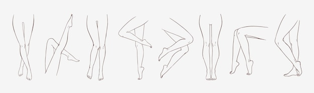 Bundle of female legs in different poses or postures hand drawn with contour lines
