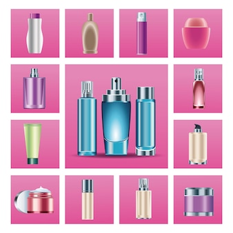 Bundle of fifteen skin care bottles products icons  illustration