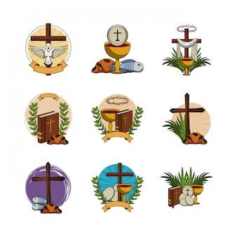 Bundle of first communion set icons Premium Vector