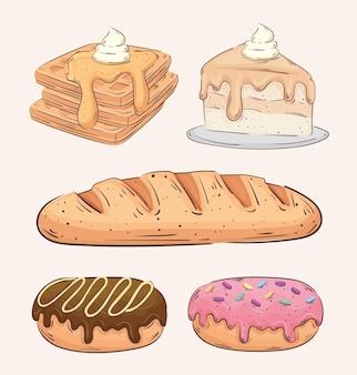 Bundle of five bakery shop set icons vector illustration design