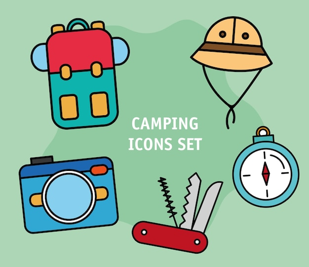 Bundle of five camping set line and fill icons and lettering