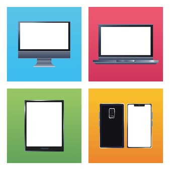 Bundle of five devices  branding icons  illustration