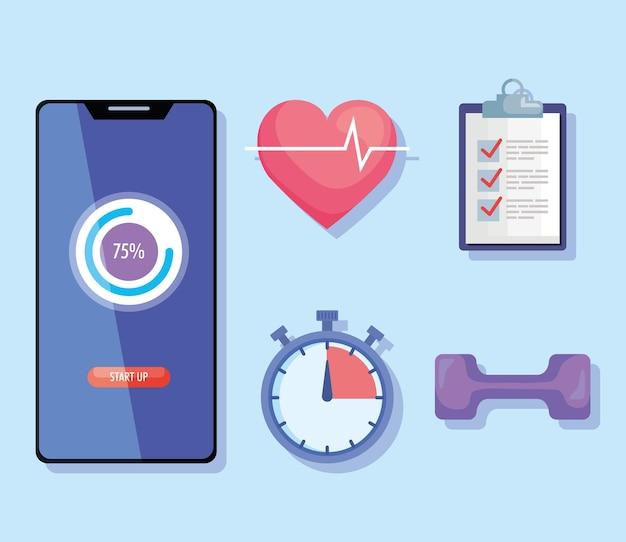 Bundle of five fitness lifestyle set icons illustration design
