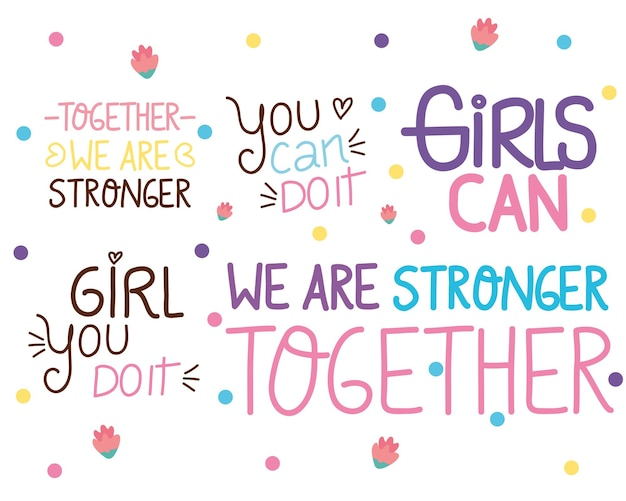 Bundle of five girl power letterings  illustration
