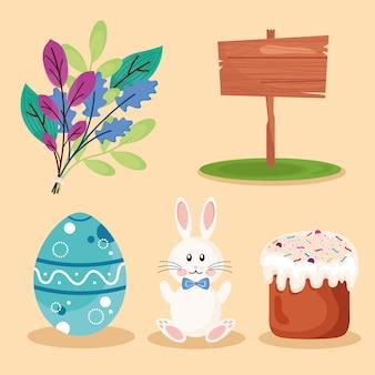 Bundle of five happy easter set icons  illustration