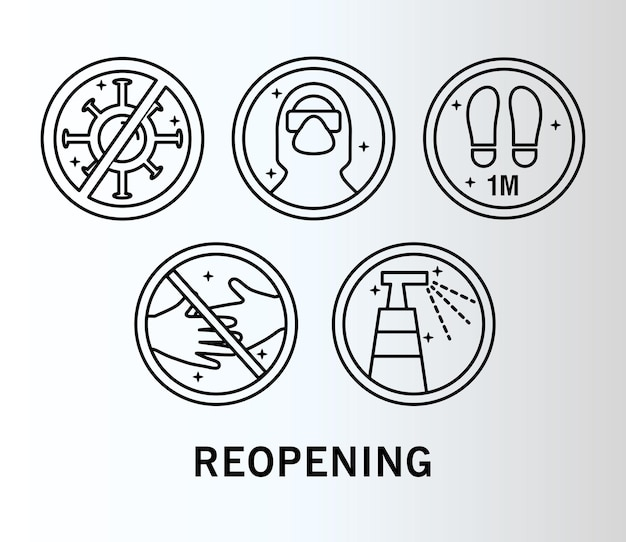 Bundle of five reopening labels set line style icons and lettering