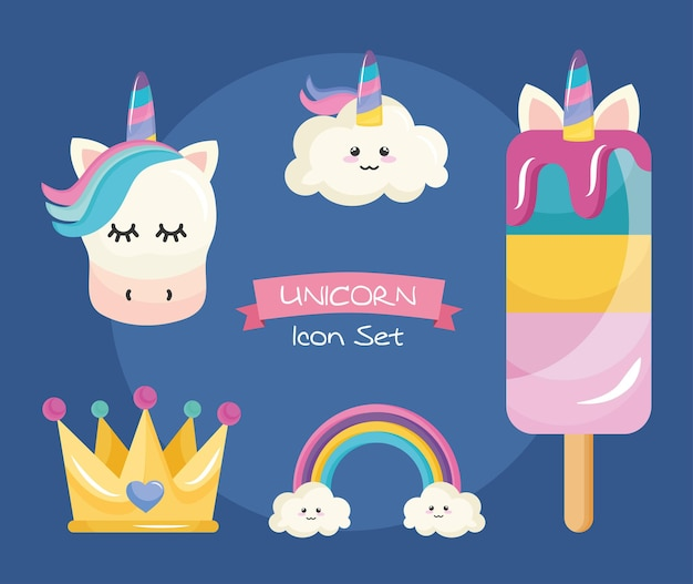 Bundle of five unicorn set icons and lettering in ribbon