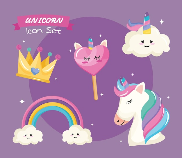 Bundle of five unicorn set icons and lettering