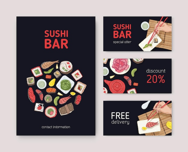 Bundle of flyers, web banners or coupons for japanese restaurant with hands holding sushi, sashimi and rolls with chopsticks on black background. vector illustration for asian food delivery service.
