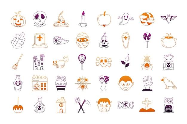 Bundle of forty halloween set icons